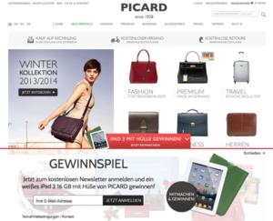 Bildschirmfoto Lead Generator im Shop von Picard Lederwaren