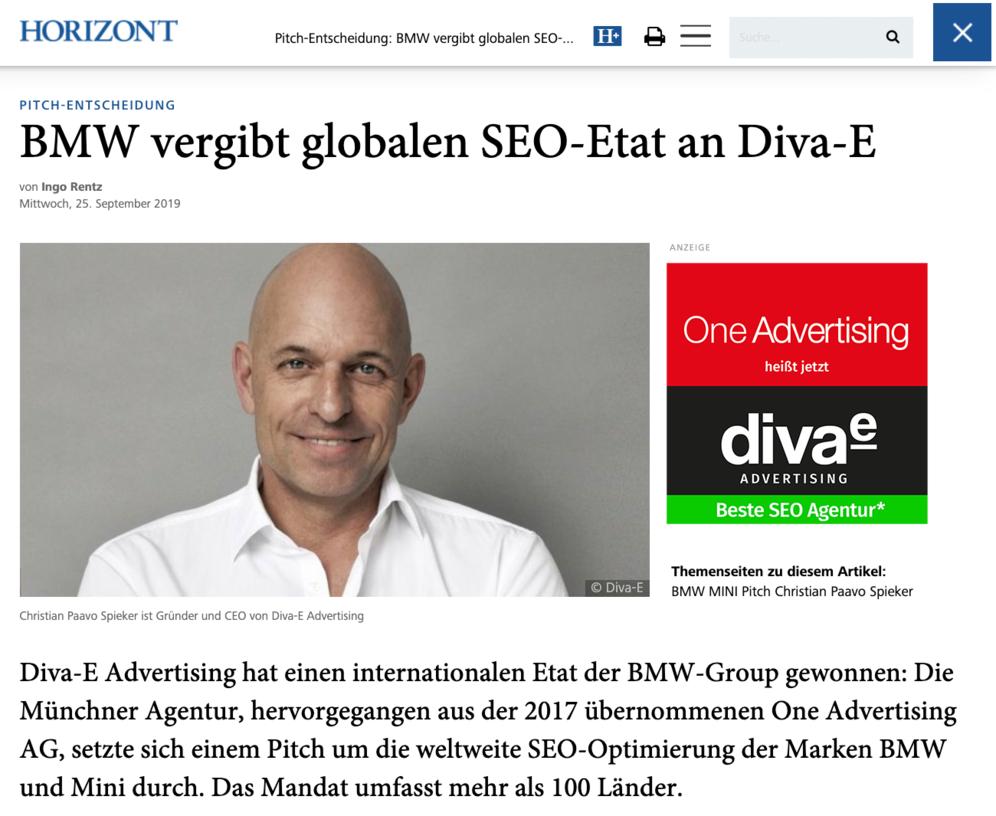 #goodMorningSEO #InnovateOrDie #seo #NoBrandNoRank #divae #BesteSEOAgentur #SeoPaavo BMW SEO: Diva-e Advertising hat den internationalen SEO Etat der BMW-Group gewonnen