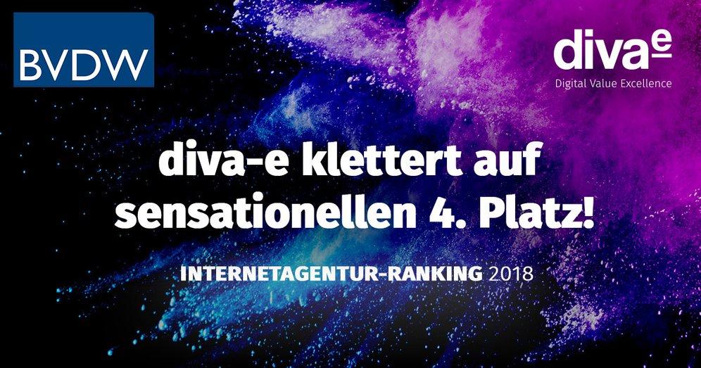 diva-e klettert im Internetagentur-Ranking 2018 auf sensationellen 4. Platz