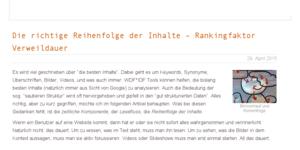tagseoblog.de Die richtige Reihenfolge der Inhalte – Rankingfaktor Verweildauer
