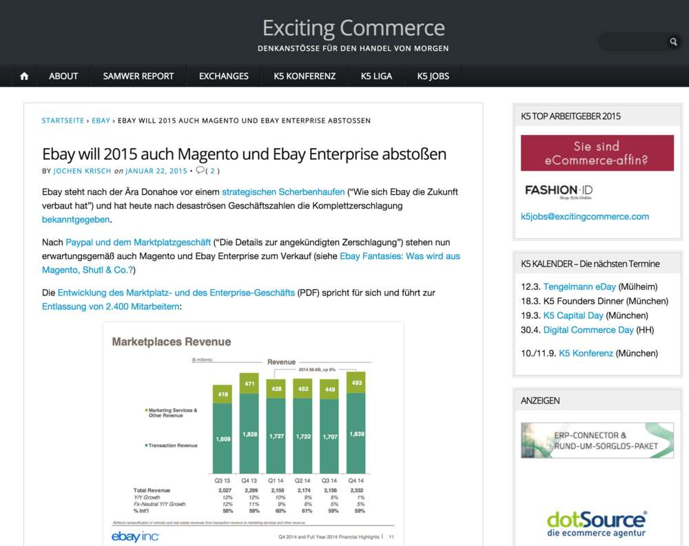 Ebay verkauft Magento
