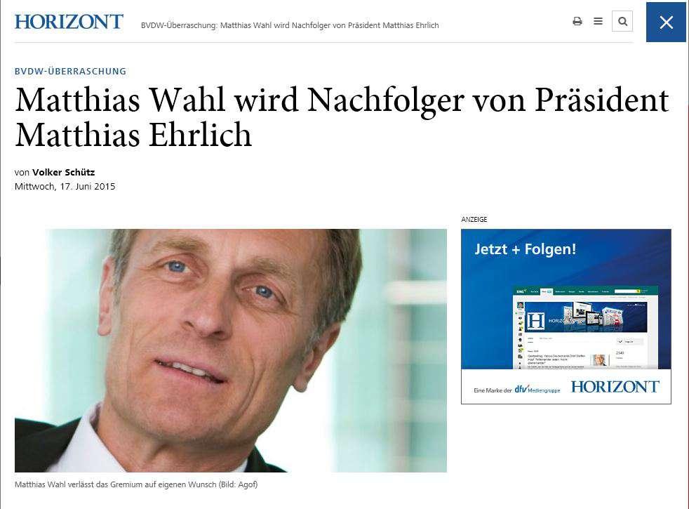 horizont.net Matthias Wahl wird Nachfolger von Präsident Matthais Ehrlich
