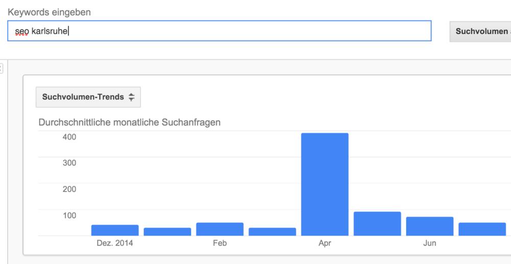 """Keyword """"Seo Karlsruhe"""" - im März war das Suchvolumen bei 30, im Testzeitraum April dann aber bei 390. Im Mai ist es wieder stark gefallen."""