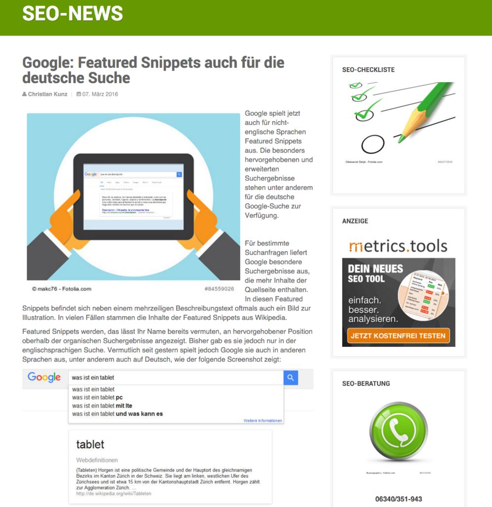 seo-suedwest.de Google: Featured Snippets auch für die deutsche Suche