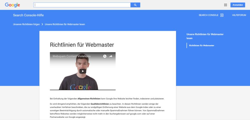 Webmaster-Richtlinien 2016
