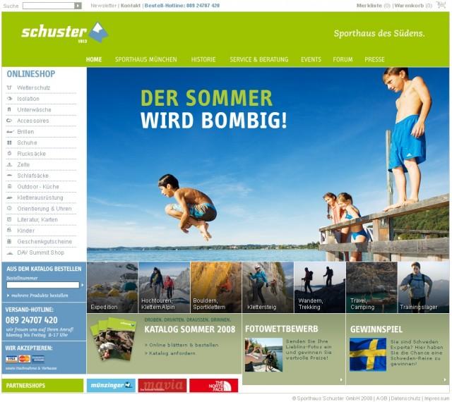 Screendesign für Sport Schuster