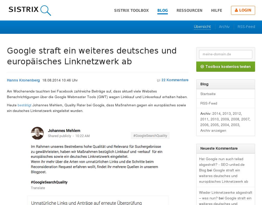 Sitrix.de Kommmentare und Blogpost zur Google Abstrafung