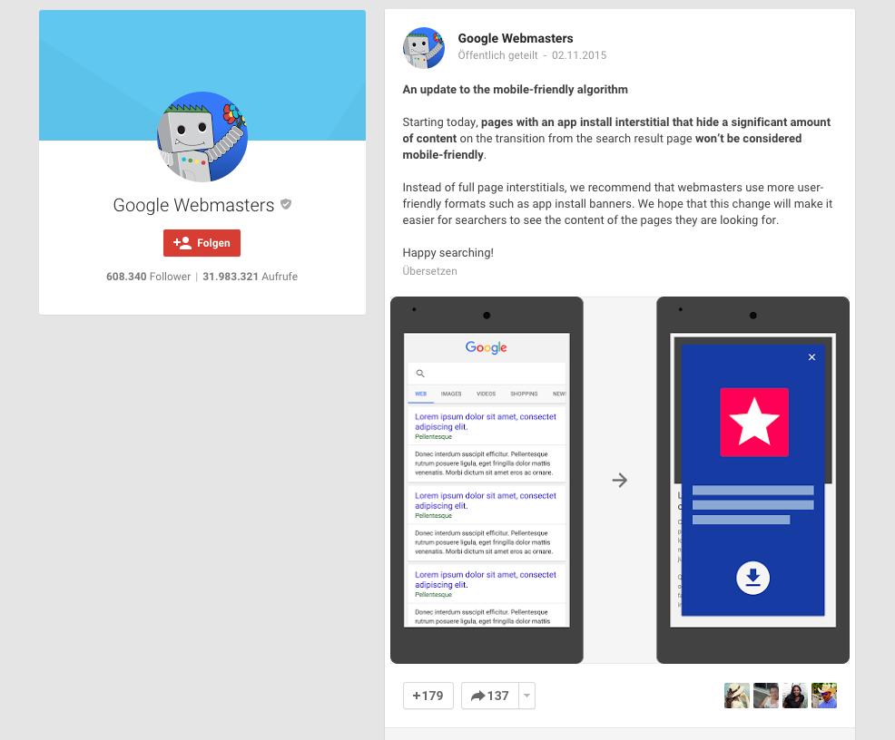 SEO: Google straft Mobile-Seiten mit App-Interstitial ab